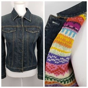 Gap sm stretch sweater knit lining jean jacket